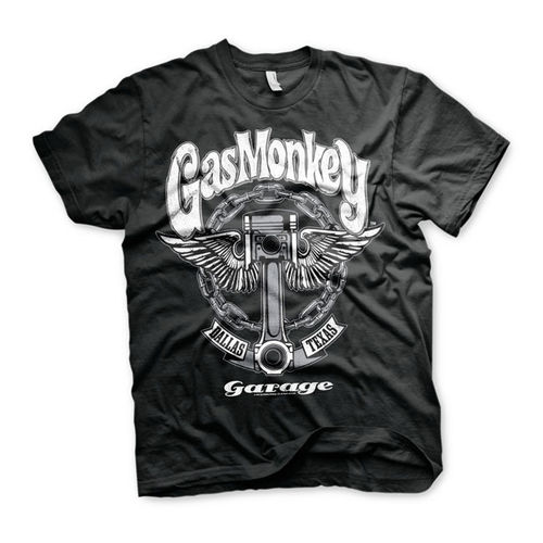 T-Shirt Gas Monkey Big Piston Preta