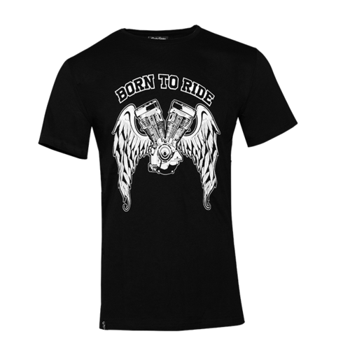 T-Shirt Rusty Stitches Born To Ride Preta